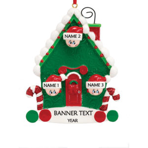 Candy Cane House 3 Personalised Christmas Ornament