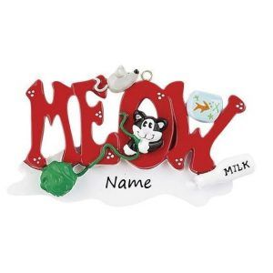 Meow! Personalised Cat Christmas Ornament