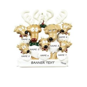 Reindeer Family 7 Personalised Christmas Ornament
