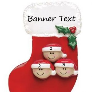 Stocking Family 3 Personalised Christmas Ornament