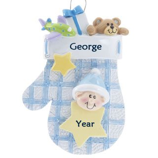Baby Mitten Blue & White Personalised Christmas Ornament