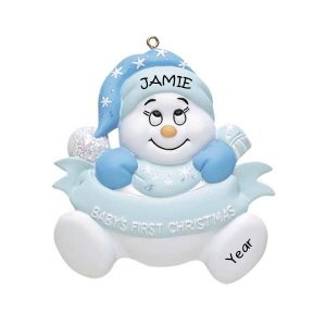 Snow Baby Boy 1st Christmas Personalised Christmas Ornament