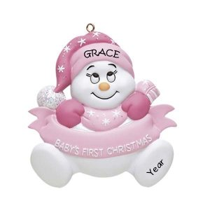 Snow Baby Girl 1st Christmas Personalised Christmas Ornament