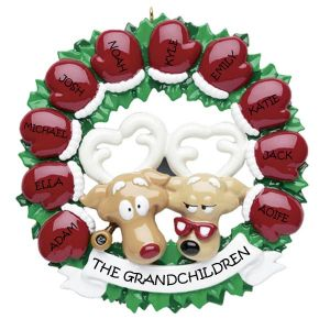 Grandparents Mitten Wreath 10 Personalised Christmas Ornament