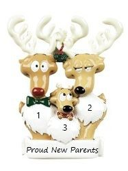 Reindeer Family 3 Personalised Christmas Ornament