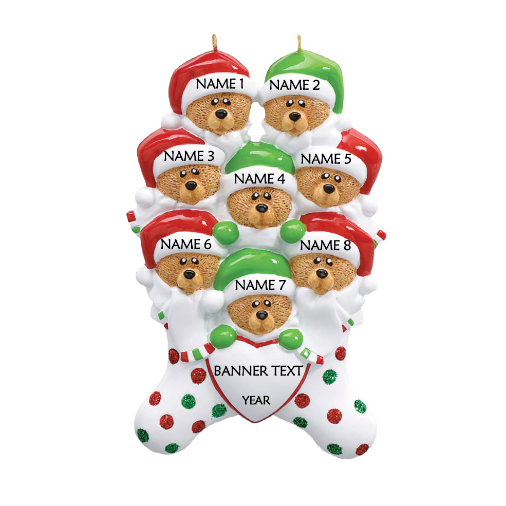 Bear Stockings Family 8 Personalised Christmas Ornament