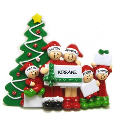 Christmas Morning Family 5 Personalised Table Decoration