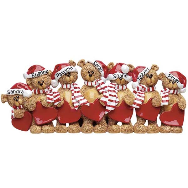 Christmas Table Decoration 7 Bears With Caps