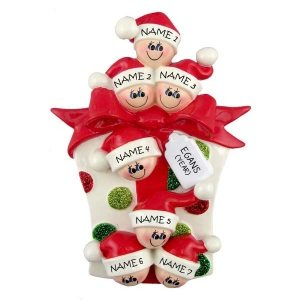 Glitter Gift Family 7 Personalised Christmas Ornament