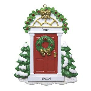 Christmas Red Door With Wreath Personalised Christmas Ornament