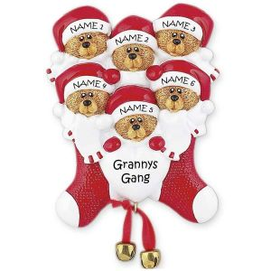 Six Bears In Stocking Ornament