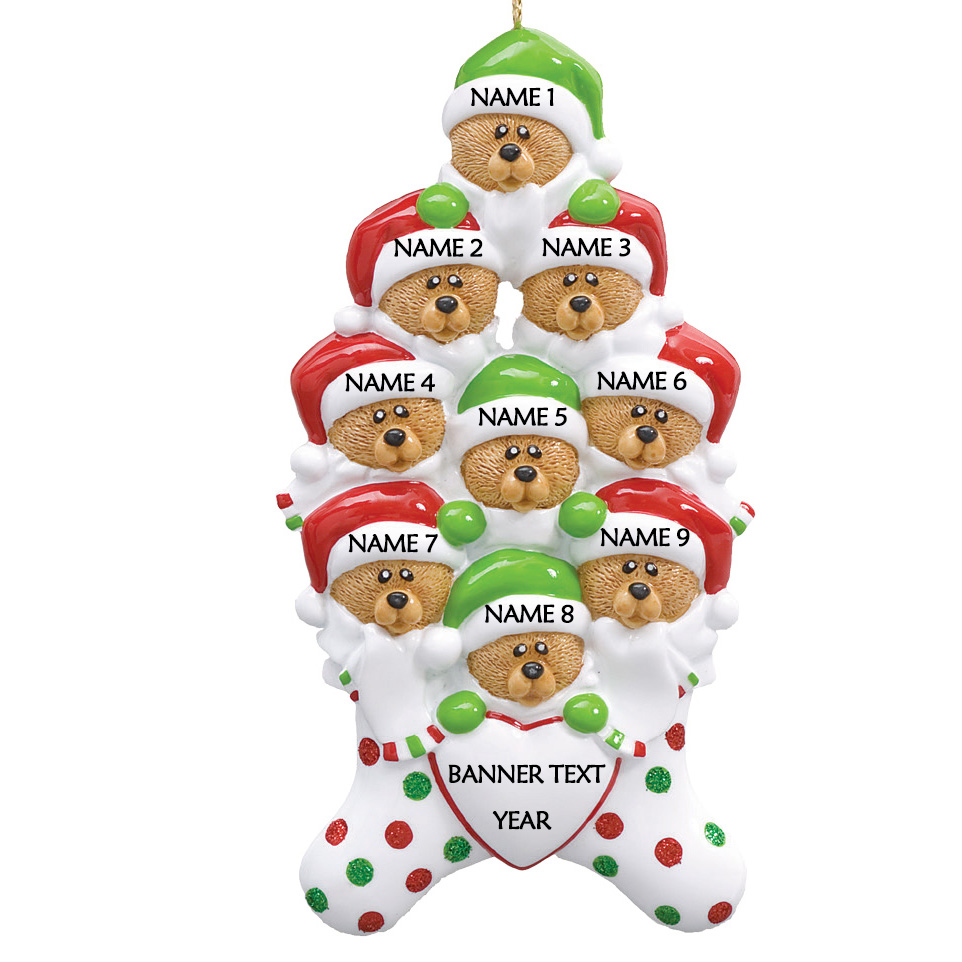 Bear Stockings Family 9 Personalised Christmas Ornament
