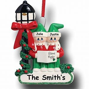 Caroller's Singing Silent Night Family 2 Personalised Christmas Ornament