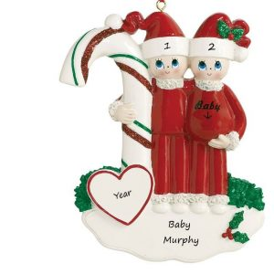 Candycane Baby Expecting Parents Personalised Christmas Ornament