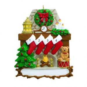 Fireplace Stocking 4 Personalised Christmas Ornament