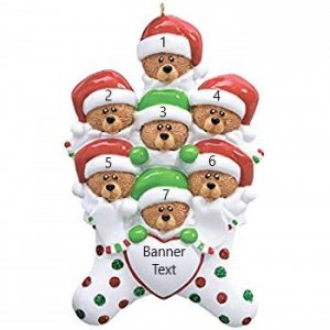 Bear Stocking Family of 7 Personalised Christmas Ornament