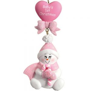 Candy Cane Baby Pink Personalised Christmas Decoration