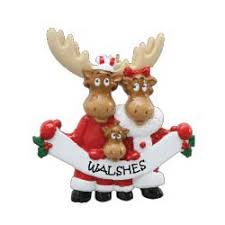 Moose Family 3 Personalised Christmas Ornament