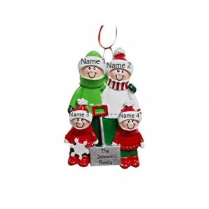 Snow Shovel 4 Family Personalised Christmas Ornament