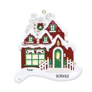 Red Christmas Cottage Personalised Christmas Ornament