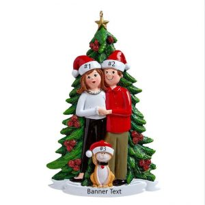 Christmas Tree Couple w/cat Personalised Christmas Ornament