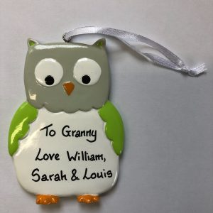 CR Green Owl Personalised Christmas Ornament