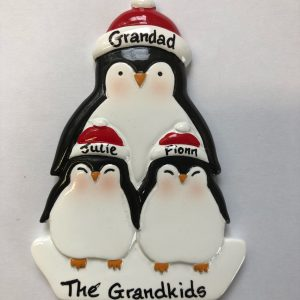 CR Penguin & 2 kids Personalised Christmas Ornament