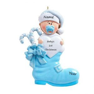 Baby's 1st Christmas Blue Boot Personalised Christmas Ornament