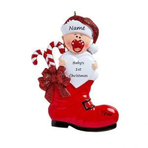 Baby's 1st Christmas Red Boot Personalised Christmas Ornament
