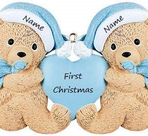 Twins (Blue & Blue) 1st Christmas Personalised Christmas Ornament