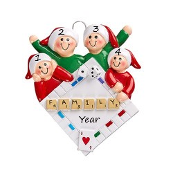 Game Night Family 4 Personalised Christmas Ornament