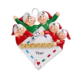 Game Night Family of 5 Personalised Christmas Ornament