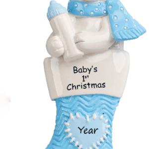 Baby polar bear stocking blue 1236B